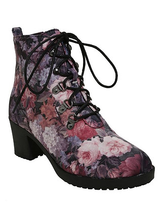 Hot Topic Satin Purple & Pink Floral Fabric Booties
