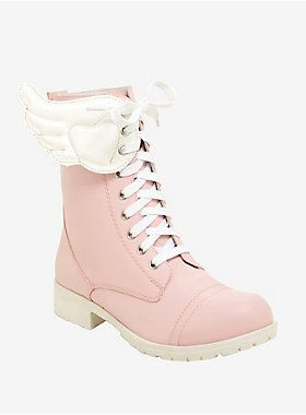 Hot Topic Pink & White Winged Combat Boots