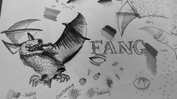 Leanne Coelho Bat Dragon illustration for art class.
