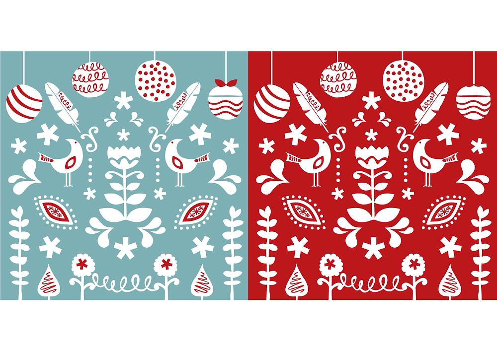 Leanne Coelho Scandinavian christmas card. Teal, red, illustrations.