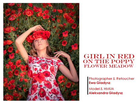 PQs Girl in Red on the Poppy Flower Meadow