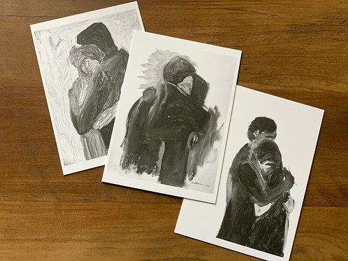 notecards, set of 6 - refuge (black & white artworks)
