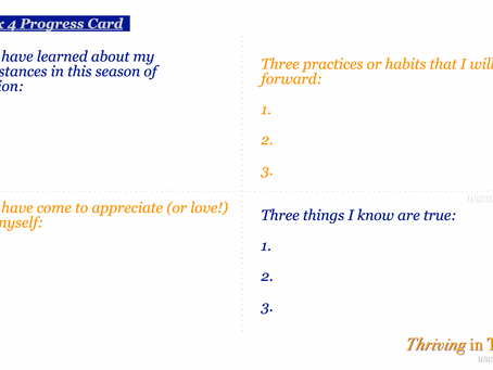 Thriving in Transition - Re-Trace and Capture Learning (3 x 4 Progress Card)