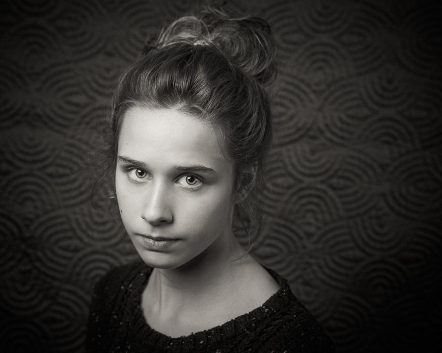 Black and White Portrait of Ava
