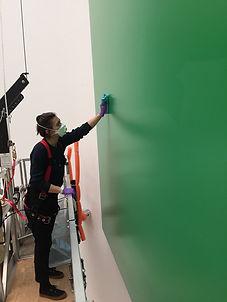 Kelly, Rotunda, Emma cleaning green pane