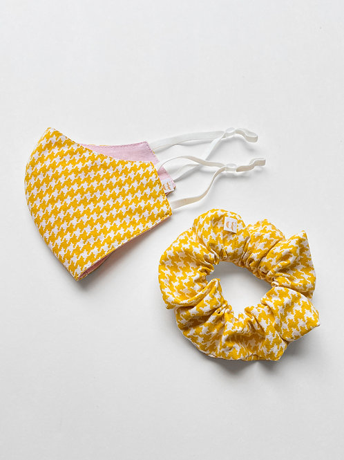 Yellow Houndstooth Mask & Scrunchie