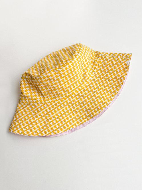 Yellow Houndstooth Reversible Bucket Hat