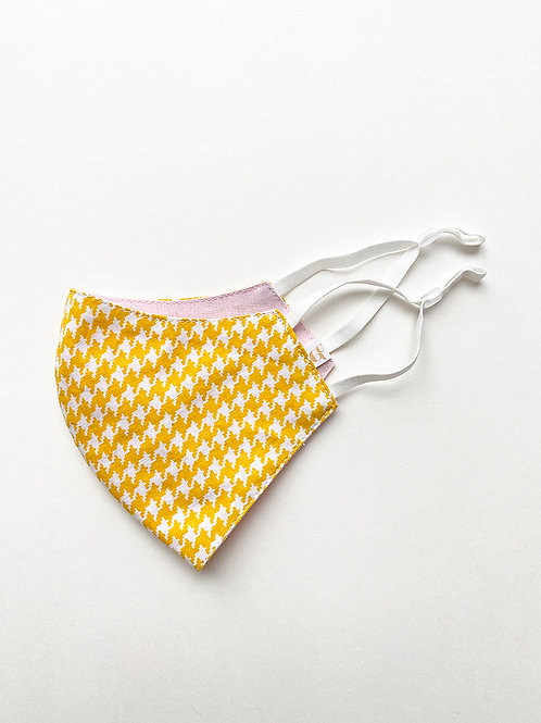 Yellow Houndstooth Reversible Mask
