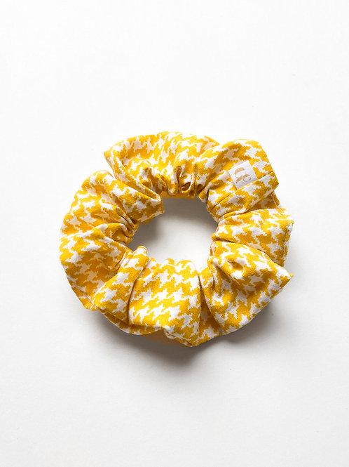 Yellow Houndstooth Scrunchie