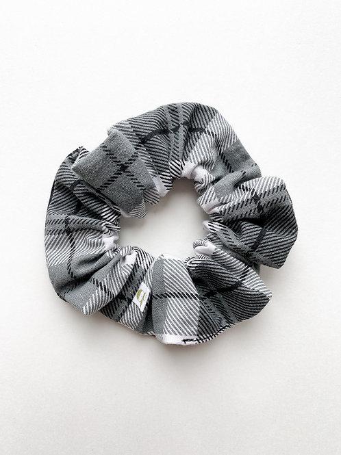 Grey Plaid Scrunchie