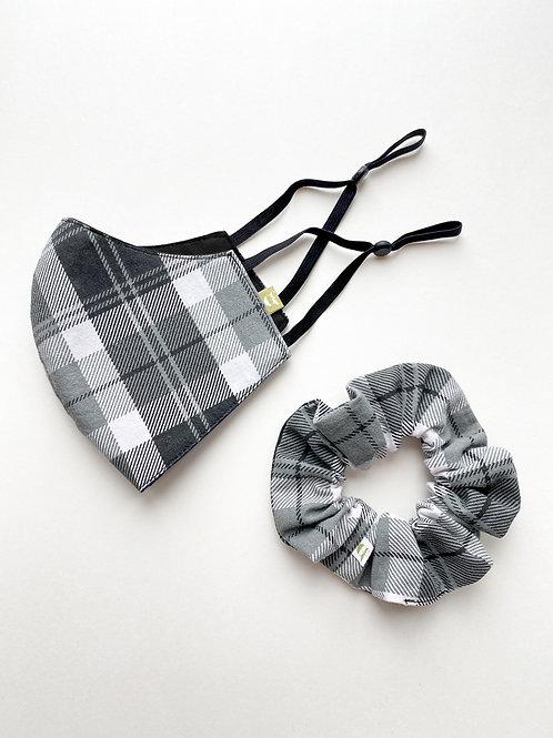 Grey Plaid Mask & Scrunchie