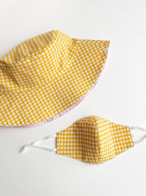 Yellow Houndstooth Mask & Bucket Hat
