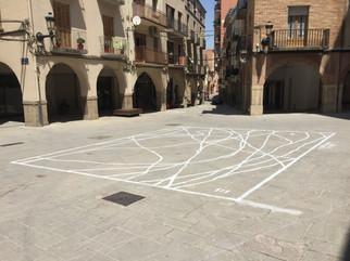 mapa 1:1 de los recorridos a pie realizados en 50m2 de la plaza del Ayuntamiento de Agramunt el día 5 de julio de 2019 entre las 11:00h y las 11:30h