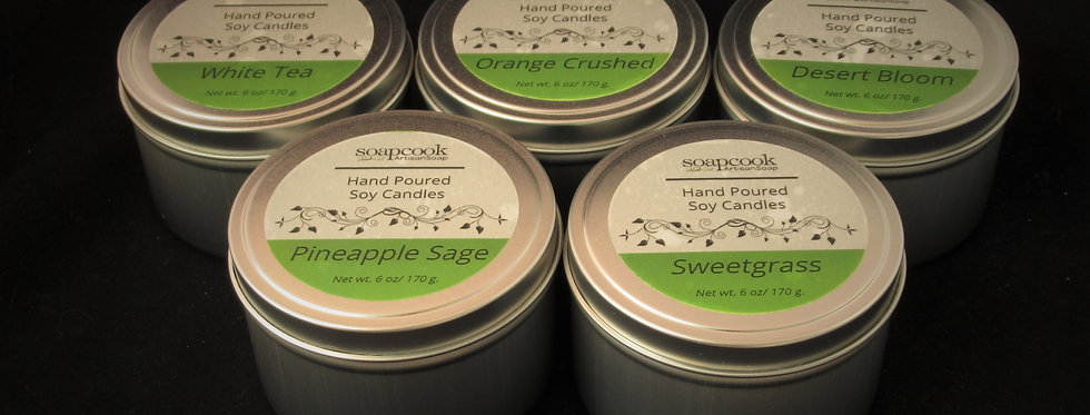100% Hand Poured Soy Candles in Tin