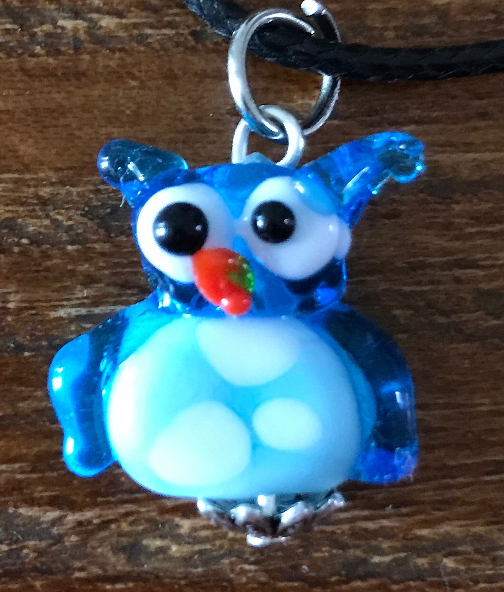 Lampwork owl bead I made on vacation