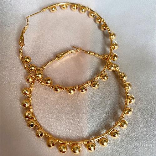 Beaded Hoops - Gold