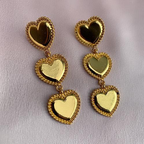 Golden Coin Heart Earrings
