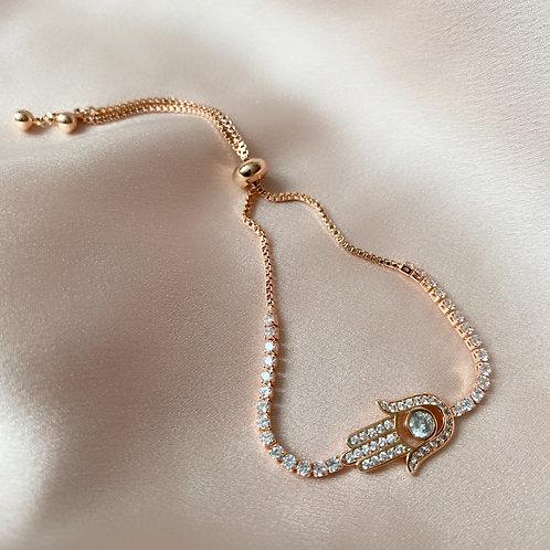 Hamsa Adjustable Bracelet - Rose Gold
