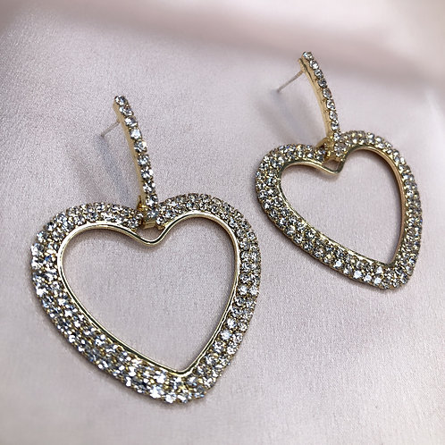 Simple Heart Earrings - Gold