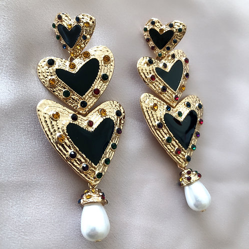 Halston Heart Earrings - Black