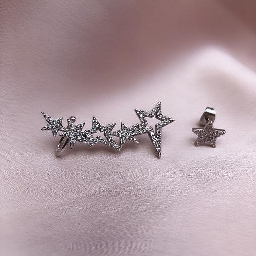 Star Ear Cuff & Stud - Silver