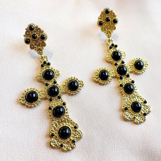 Dinah Cross Earrings - Black