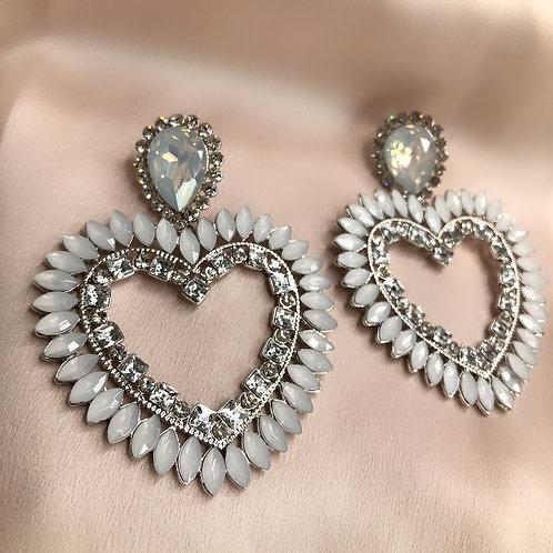 Big Heart Earrings - Silver & White