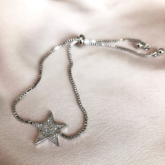 Star Adjustable Bangle - Silver