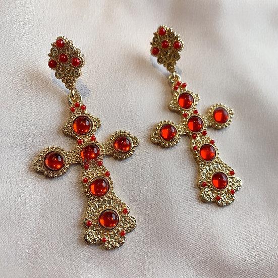 Dinah Cross Earrings - Red