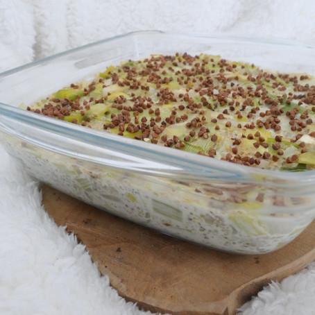 Gratin poireaux, quinoa, chèvre & moutarde