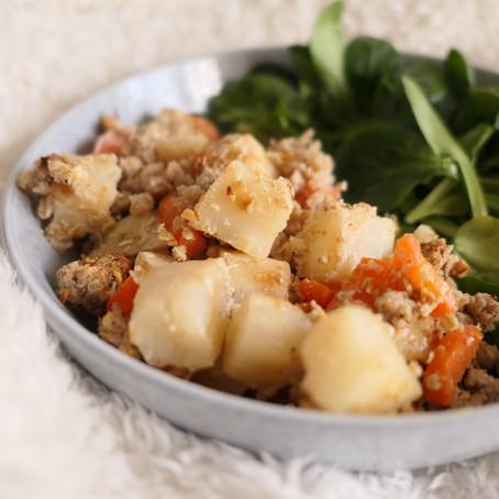 Crumble céleris, carottes & noisettes
