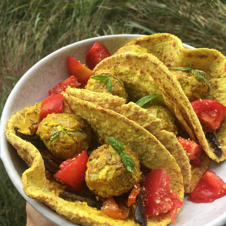 Veggie wraps curry, coco aux légumes de saison.