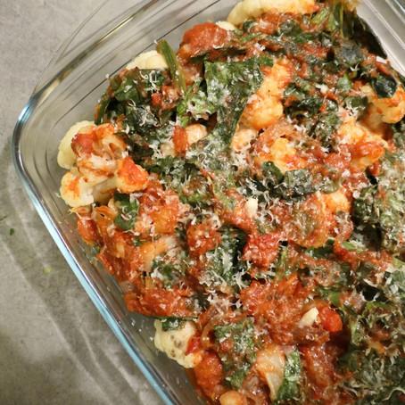 Gratin chou-fleur & épinards à la tomate