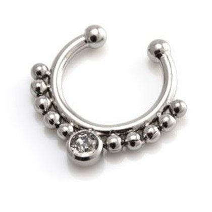 Fake Steel Gem Septum Ring
