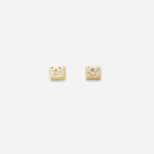 Starry Sky Square Stud Earrings, Silver and Gold Plated