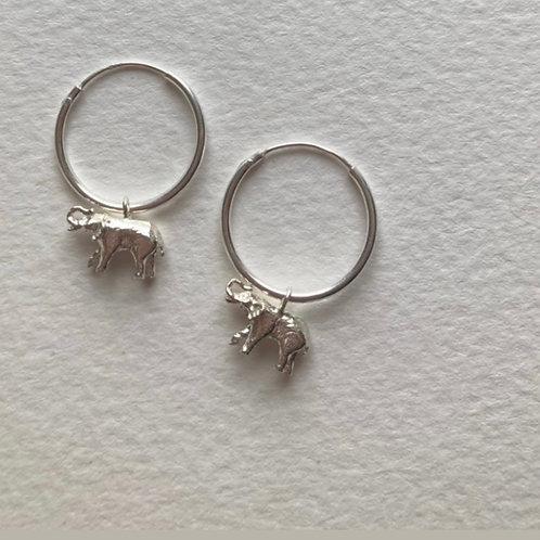 -SALE- Elephant Hoop Earrings Silver