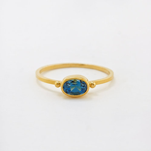 Blue Topaz Stacking Ring Gold Plated