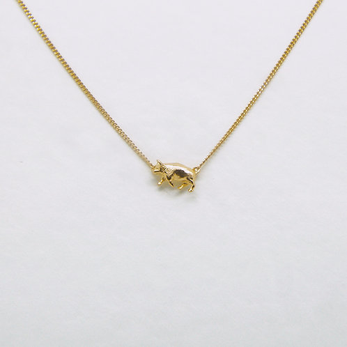 Pig Necklace Gold Plated