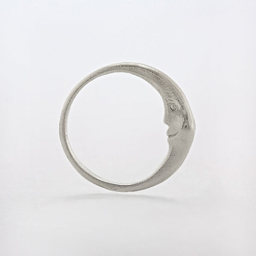 Crescent Moon Ring Silver