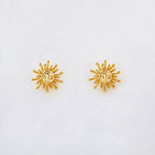 Small Daydreaming Sun Stud Earrings Gold Plated