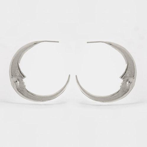 Large Crescent Moon Hoop Earrings Silver