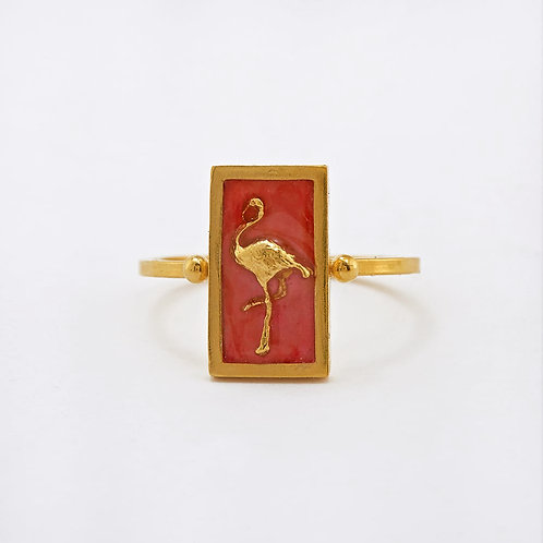 Flamingo Cameo Ring Gold Plated