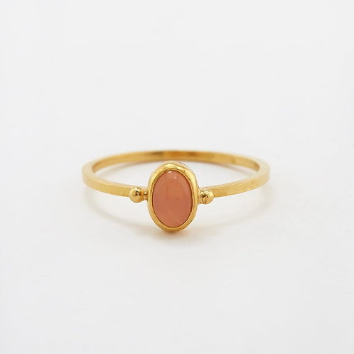 Peach Moon Stone Stacking Ring Gold Plated