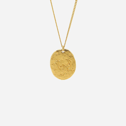 Happy Moon Nugget Necklace, Gold Plated