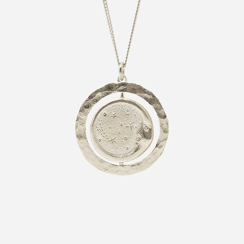 Glide and Slide Sun & Moon Necklace, Silver