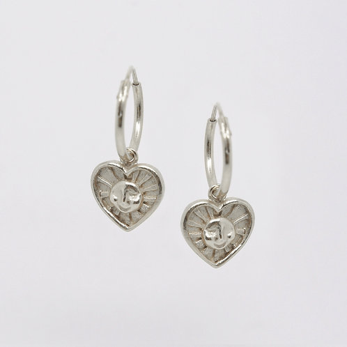 Sunrays of Love Hoop Earrings, Silver