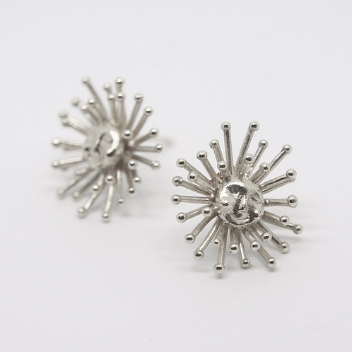 Large Daydreaming Sun Stud Earrings Silver
