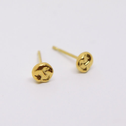 Full Moon Studs Earrings, Gold Plated
