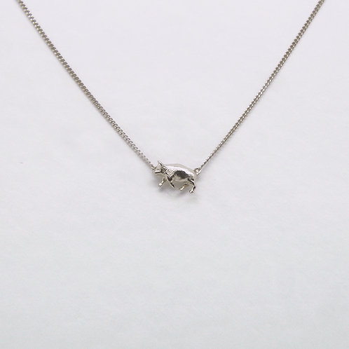 Pig Necklace Silver