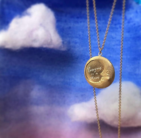 -SALE- Moon disk Necklace Gold Plated